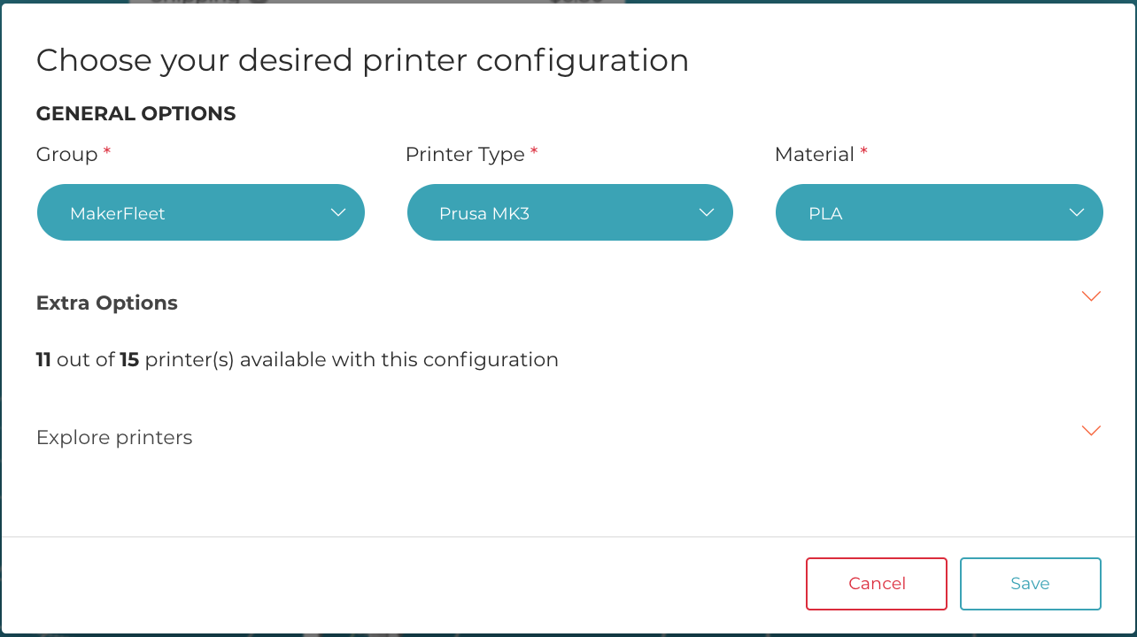 "Here, we choose the ""MakerFleet"" Group, with a Printer Type of ""Prusa MK3"" and Material of ""PLA"".  It then says that there are ""11 out of 15 Printers"" with that configuration, which means that there are 15 MK3 Printers that are loaded with PLA in the MakerFleet Group, 11 that are immediately available to print.  Using ""Extra Options"", you can even define the manufacturer, color, or nozzle size.  With ""Explore Printers"", you can bypass our smart queue algorithm and print onto a specific printer."