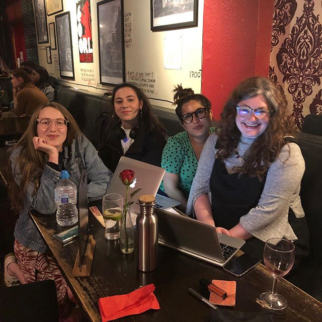Congratulations to @g__ting, @burntlemontheatre & @madelinergould for their marathon writing day yesterday at the Old Red Lion Pub! Today our actors and directors are taking what they've written and bringing it to life to be performed TONIGHT at 6:45 & 9 pm! Grab a pint, a pie (see Madeline's joy for a good reason to nab one) and enjoy the three new plays happening around you! Tickets available at the door.