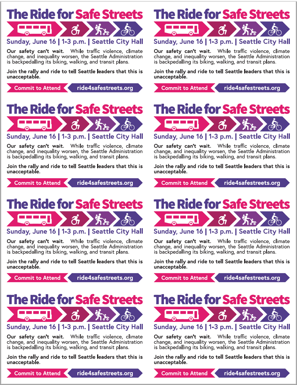 Fliers - Print fliers for handing out at events and to commuters along well-known bike routes.