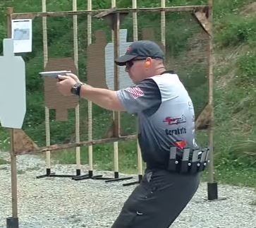 The author shooting a USPSA match, 2016.