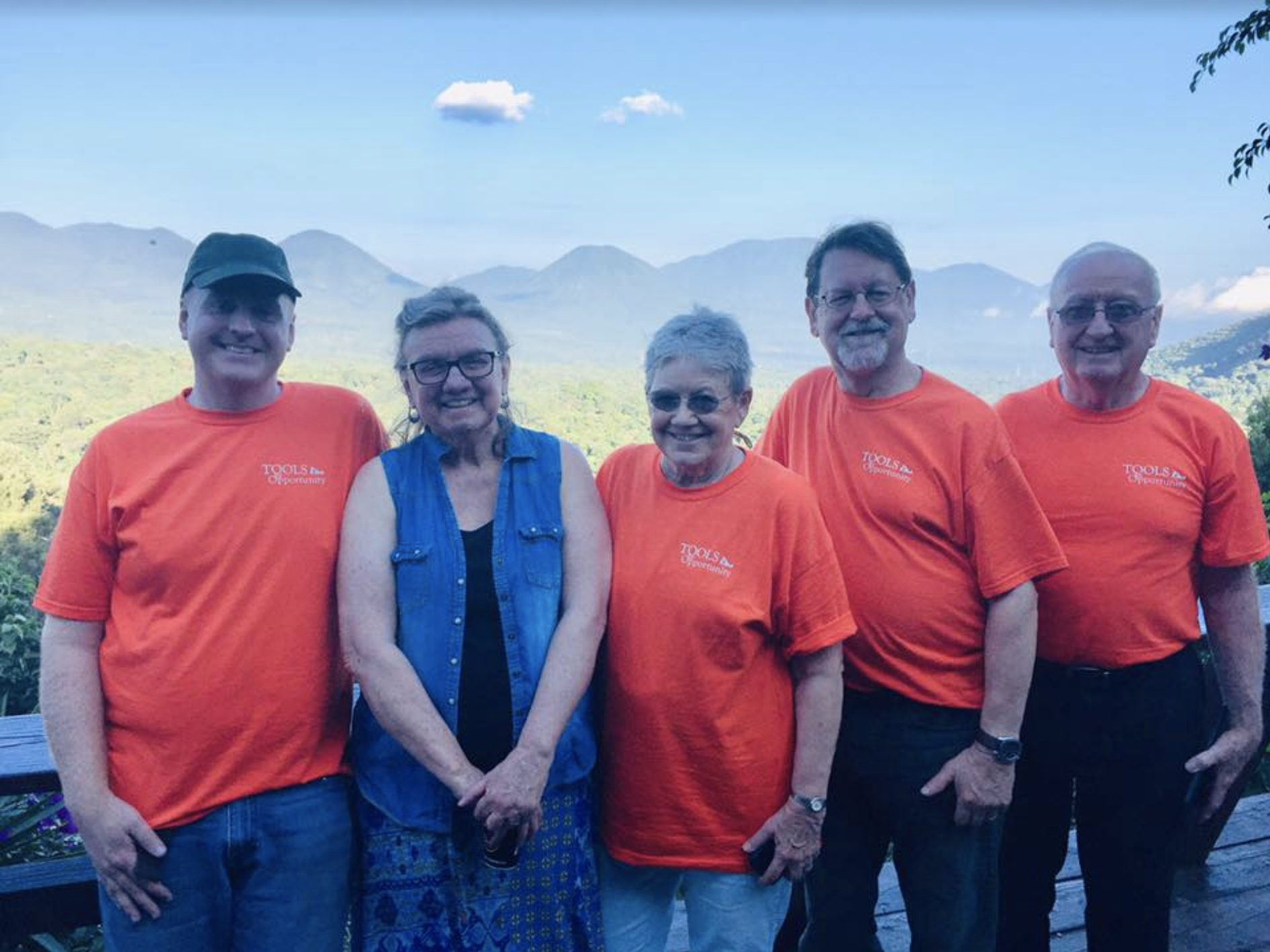 Tools for Opportunity supporters Nathan Kress, Carol Pearson, Eileen Peterson, TFO President Gene Pedersen, and supporter Dennis LaRoque taking in the sights of El Salvador on their trip in 2018.