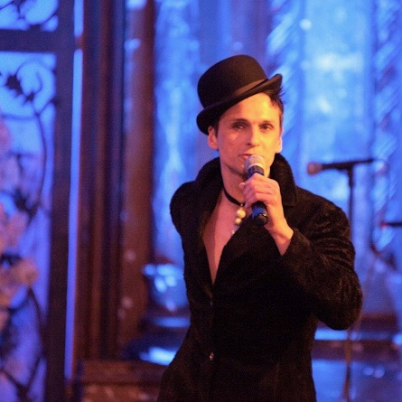 Entertaining at a benefit held at the Angel Orensanz Foundation in NYC, 2014