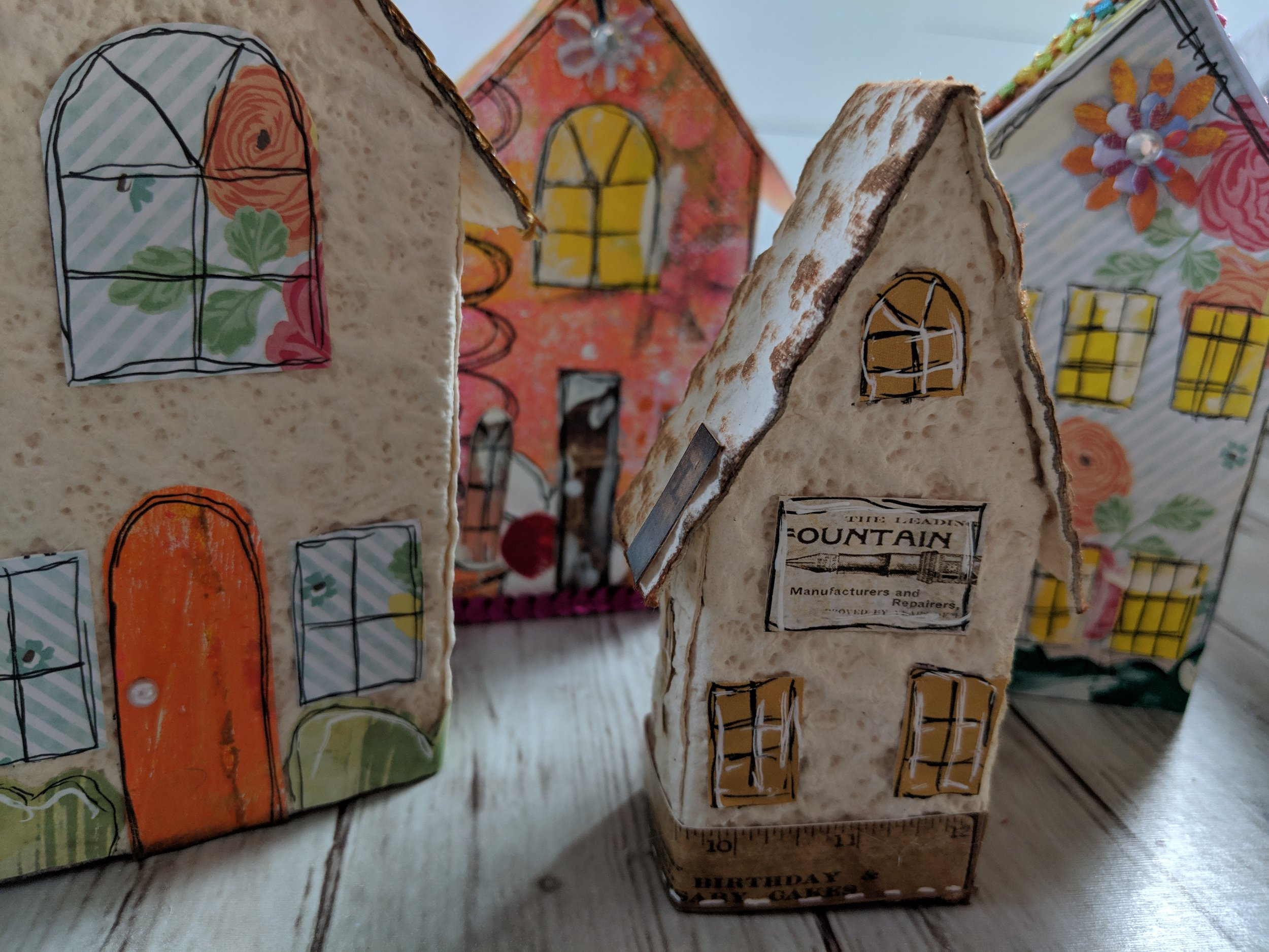 Mixed media whimsical villages are one of my favorite things to create when I'm in my studio.