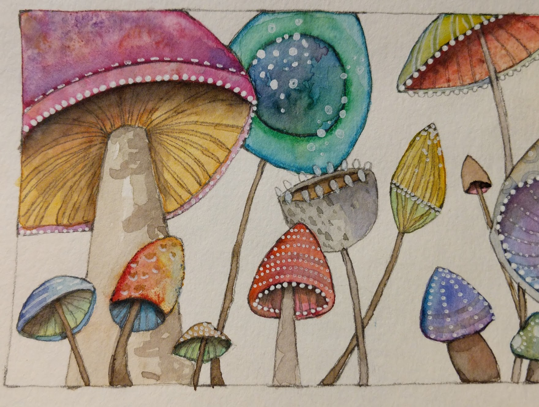 Watercolor mushrooms full of color and doodles.