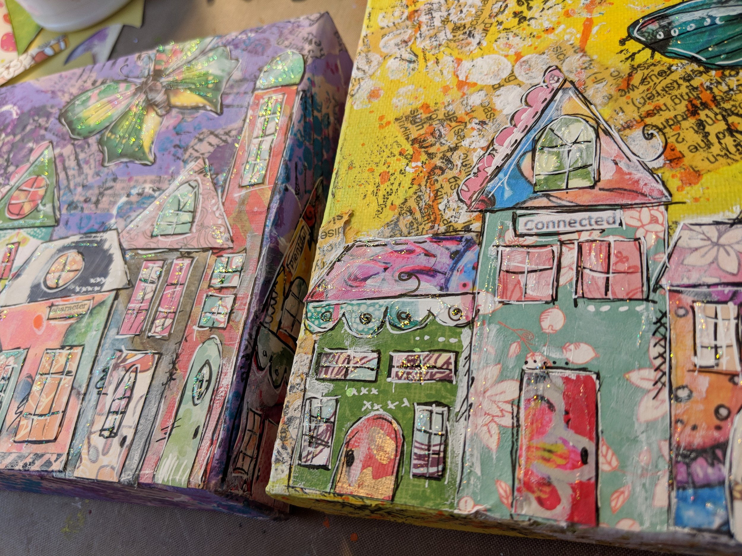 Collaged villages on canvases are one of my favorite pieces of art to create!