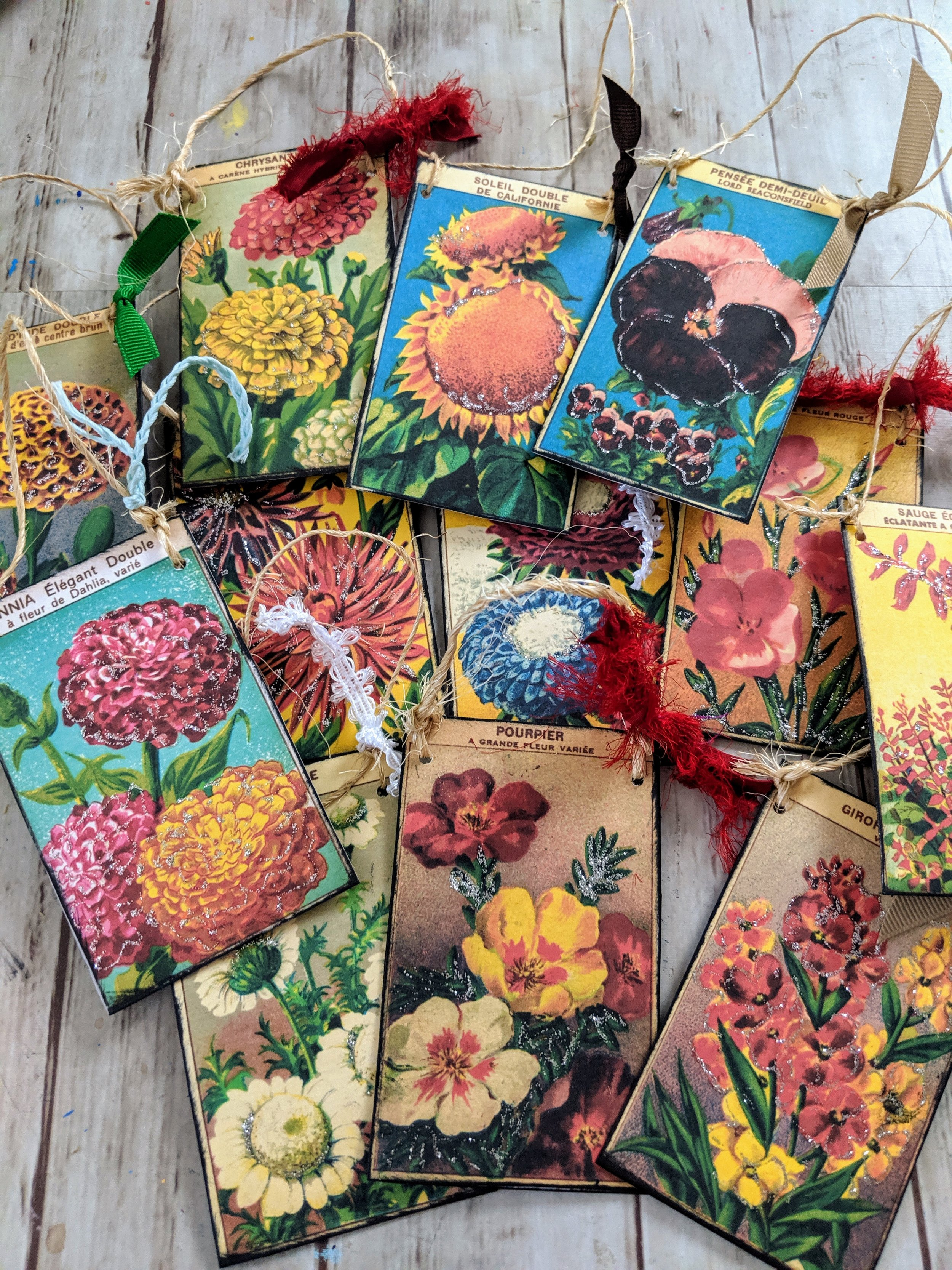 Vintage Seed Packet Ornaments for a Garden Themed Christmas Tree