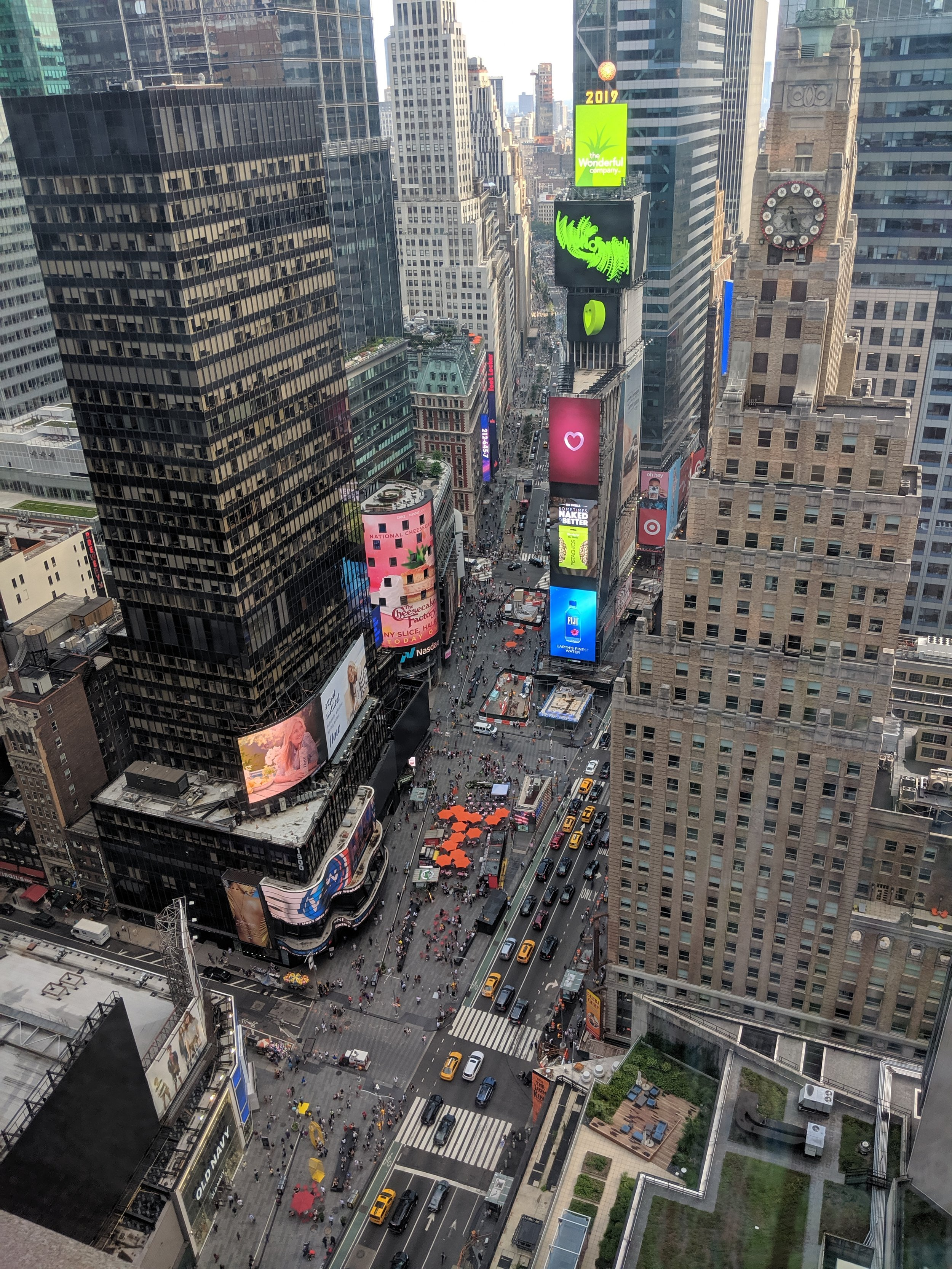 "Times Square view from our hotel at the Marriott Marquis. Hello ""Good Morning America!"""