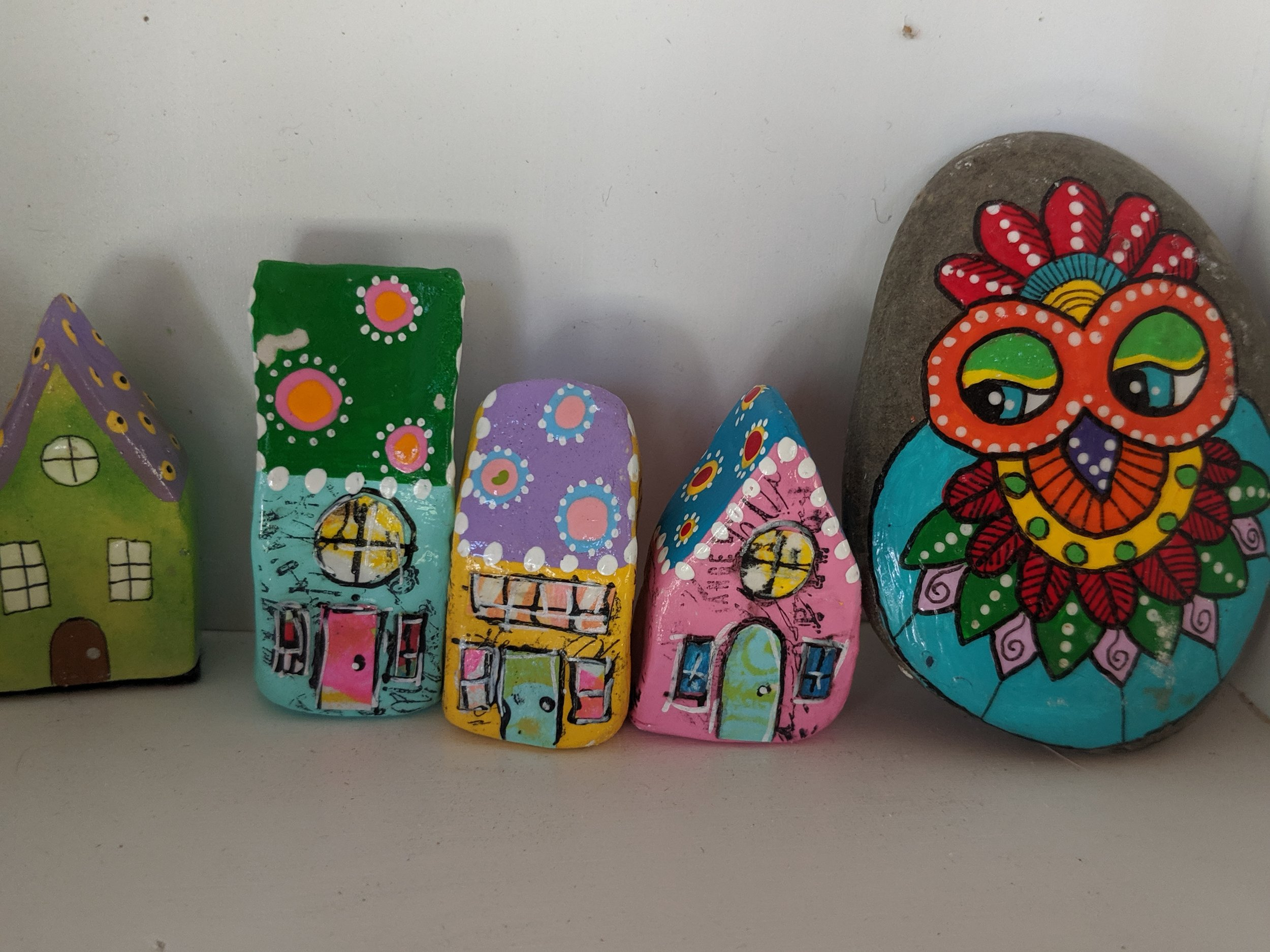 Painted rocks and whimsical clay houses are displayed in the case inside my shop with eye catching color and fun little details. These were a big hit with the kids that visited the shop during the Bolton Harvard Open Studios.