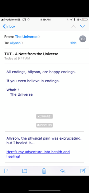 Note from Universe - Earlier in this story, I mentioned how Mike Dooley's daily Notes from the Universe were very personal and inspirational to me.The day I reached the end of our pilgrimage, this is the note that I received.It was about endings at the exact moment our Camino ended, and it also mentioned the pain, which was such a big part of my journey.I felt that this note was so spot on during my spiritual quest. I took it as a message or a cue that if I chose to follow it, it could lead to something more. I felt in my heart, that it had to be more than just a coincidence.