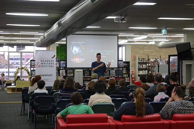 It was a packed house today for @jackheathwriter 's author talk - Become a Human Lie Detector! Thanks Jack for being a part of @shoalreaderswritersfest and inspiring our young readers and writers of The Shoalhaven 📚
