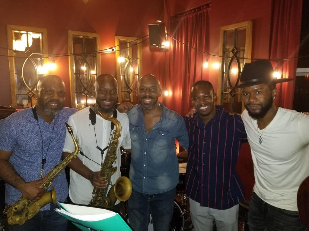 JSWISS was a featured guest as part of the debut performance of acclaimed drummer E.J. Strickland's great new band concept, Pad & Loops, live in NY. The outstanding band pictured here from left to right - Jaleel Shaw, Marcus Strickland, E.J. Strickland, JSWISS and Ben Williams
