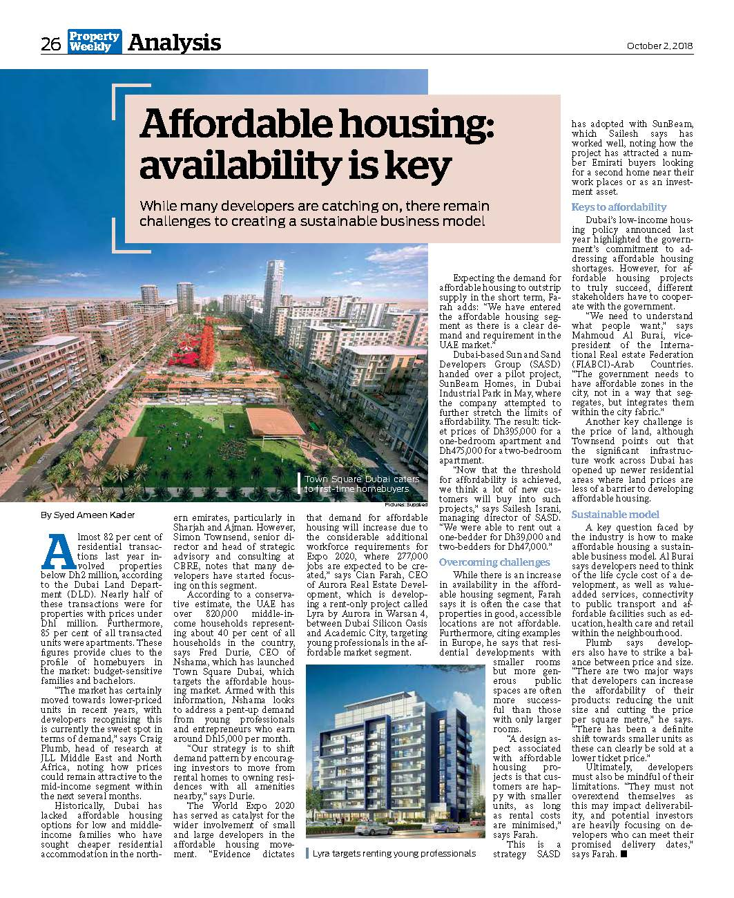 Aurora in Property Weekly