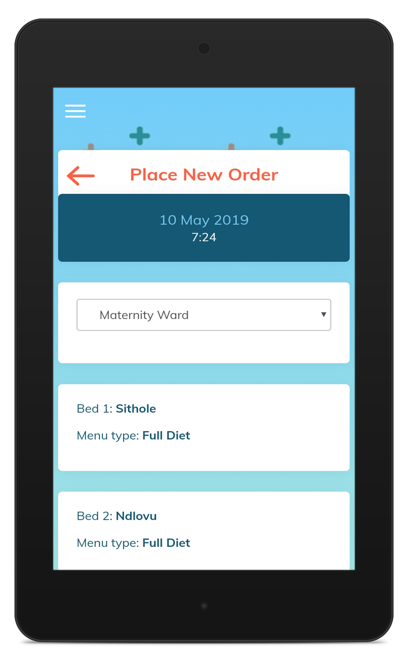 Tablet Ordering - Placing an order is simple with pre-populated wards, beds, patients and patient diets.Simple UX design means hostess's are up and running quickly and will minimal training.Training videos available