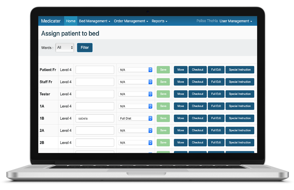 Bed side management - Webportal means you can access via any web enabled device.Update patients diets, move patients, checkout patients and add special instructions from the systemStandalone system or intreated with most POS systems