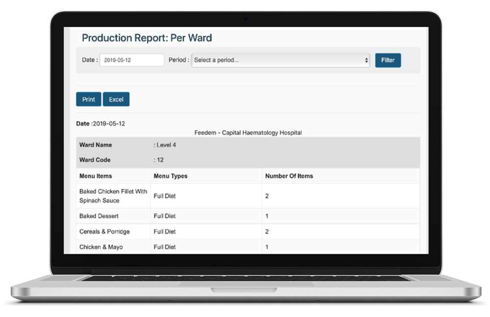 Production reports - Production reports mailed daily to supervisorCreate production report to your needs (per hospital, per meal, per ward, per menu)No need for counting all automated and full audit trail.