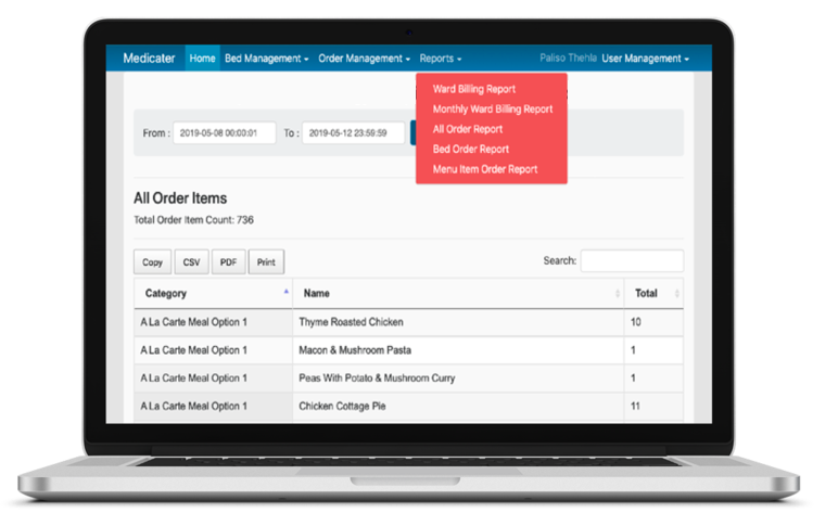 Audit reports - Multiple auditing reports available on systemUnderstand how many orders per item eg. How many orders per bed, how many meals order over a day or over a specific periodClient logins to see & approve audit reports in real time.