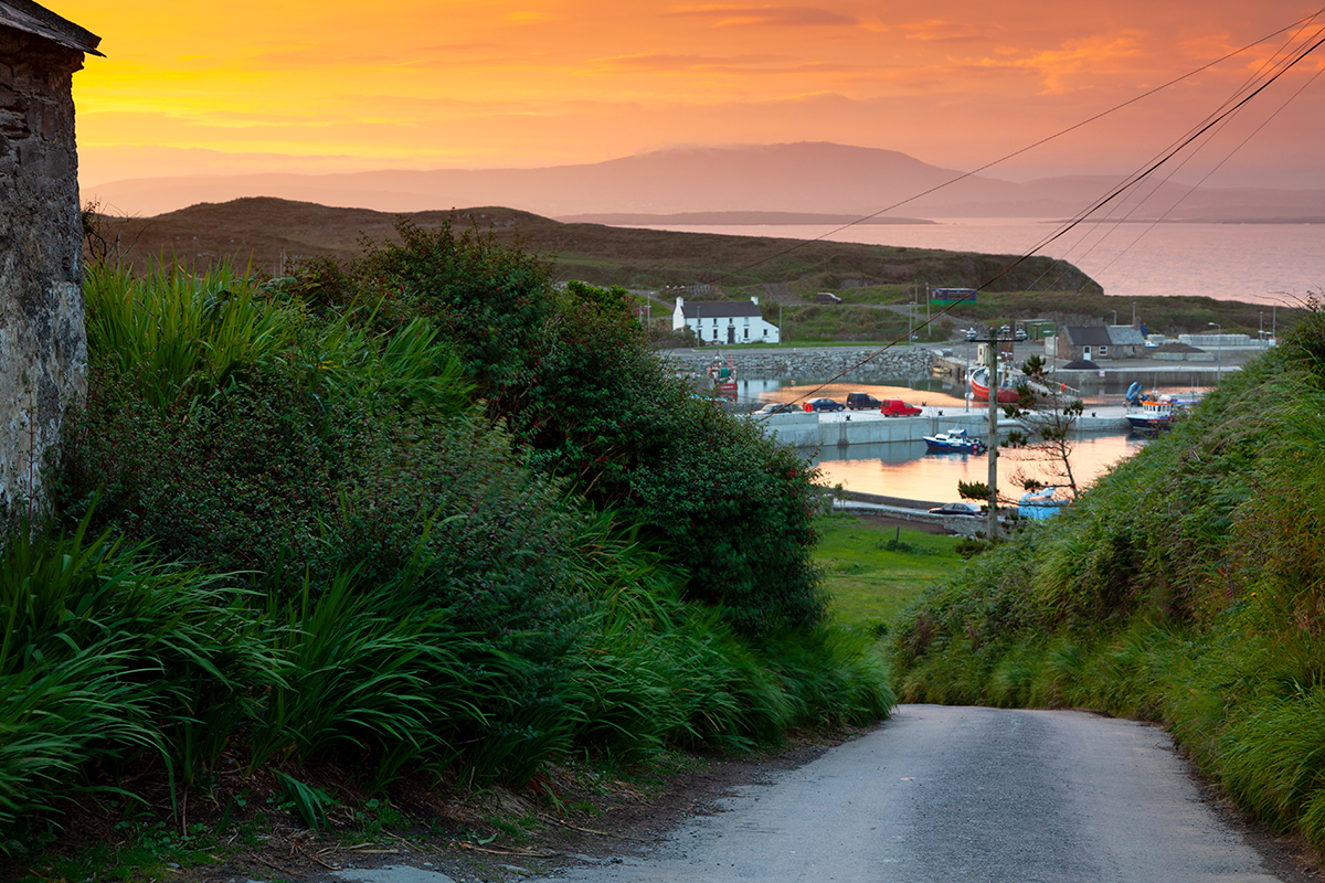 Sunset over North harbour on Cape Clear