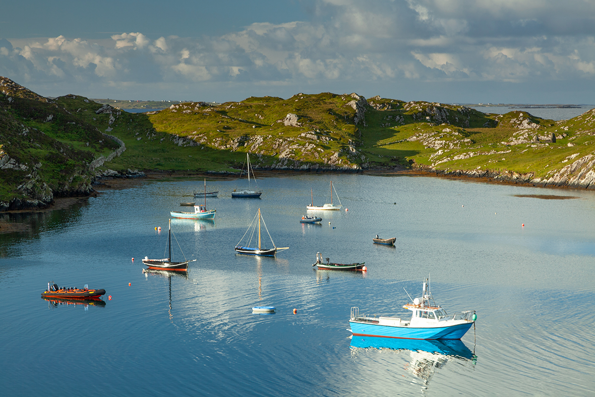 Harbour boats on Inishbofin island.