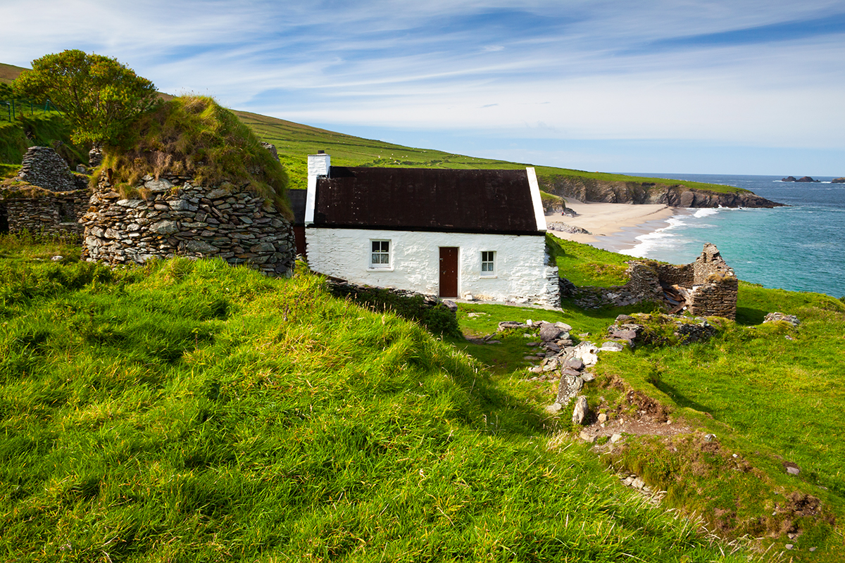 Cottages and beehive hut on Great Blasket island