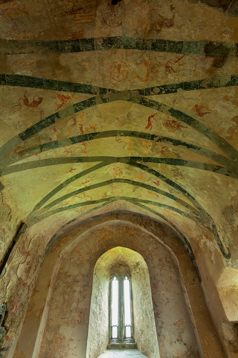 Medieval paintings on the ceiling in Clare island abbey