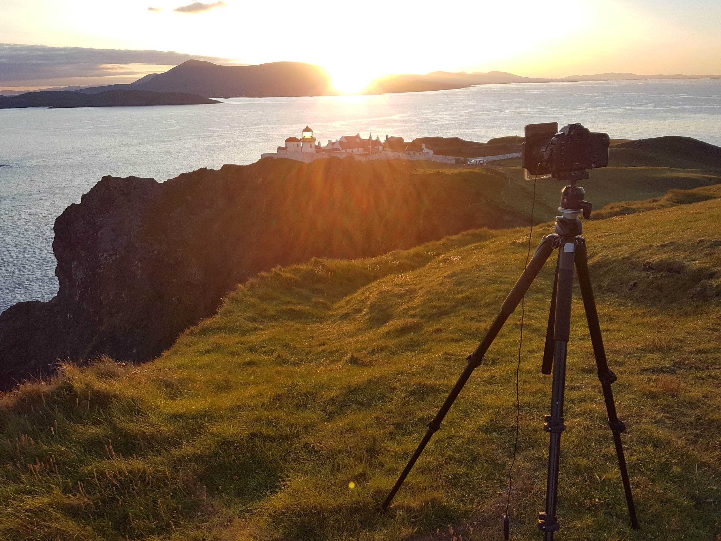 Phone shot of my camera setup on the cliffs above Clare island lighthouse