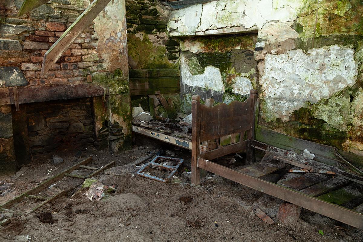Interior of abandoned cottage on Inishkea South