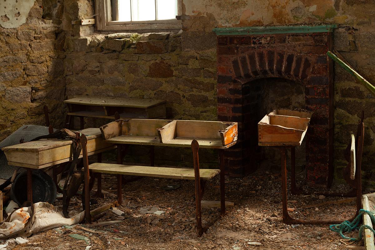 Interior of the old schoolhouse on Inishfree island