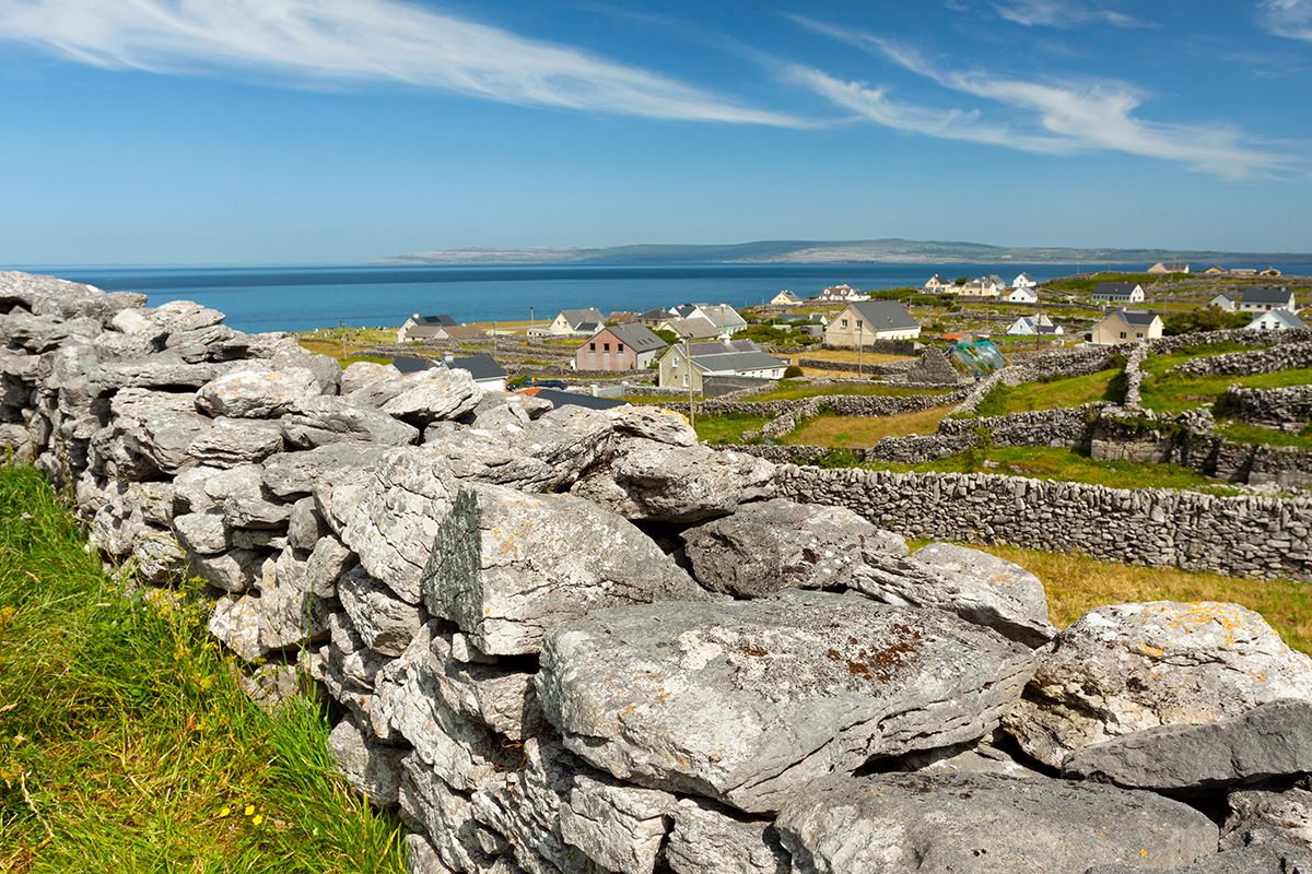 View looking across to the Burren on the mainland from Inis Oírr