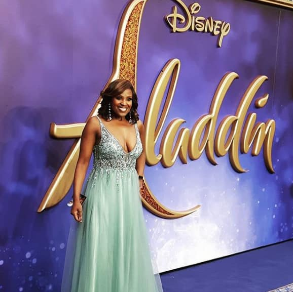 Kelle Bryan at West End premiere of Aladdin wearing Mascara Misty Green Ray Beads Dress.