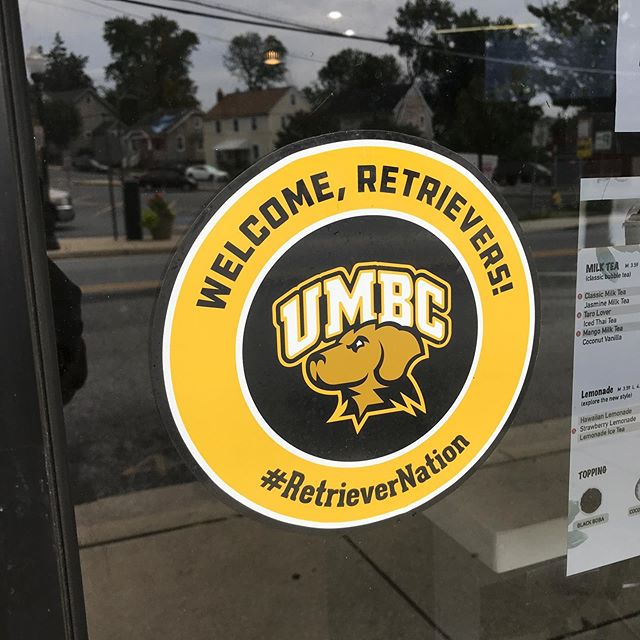 Were not the only ones in Arbutus excited about seeing #retrievernation on East Dr. Expect to see more and more of these stickers placed on businesses welcoming the UMBC community :)