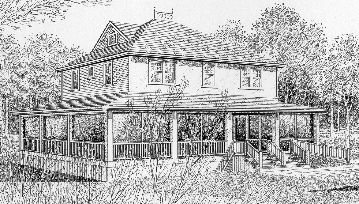 Sketching of the original Deane House