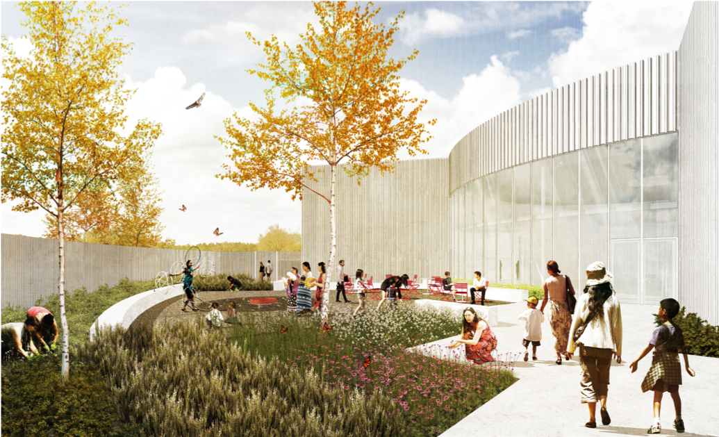 New Museum Architectural Rendering: Outdoor Courtyard – Nyhoff Architecture