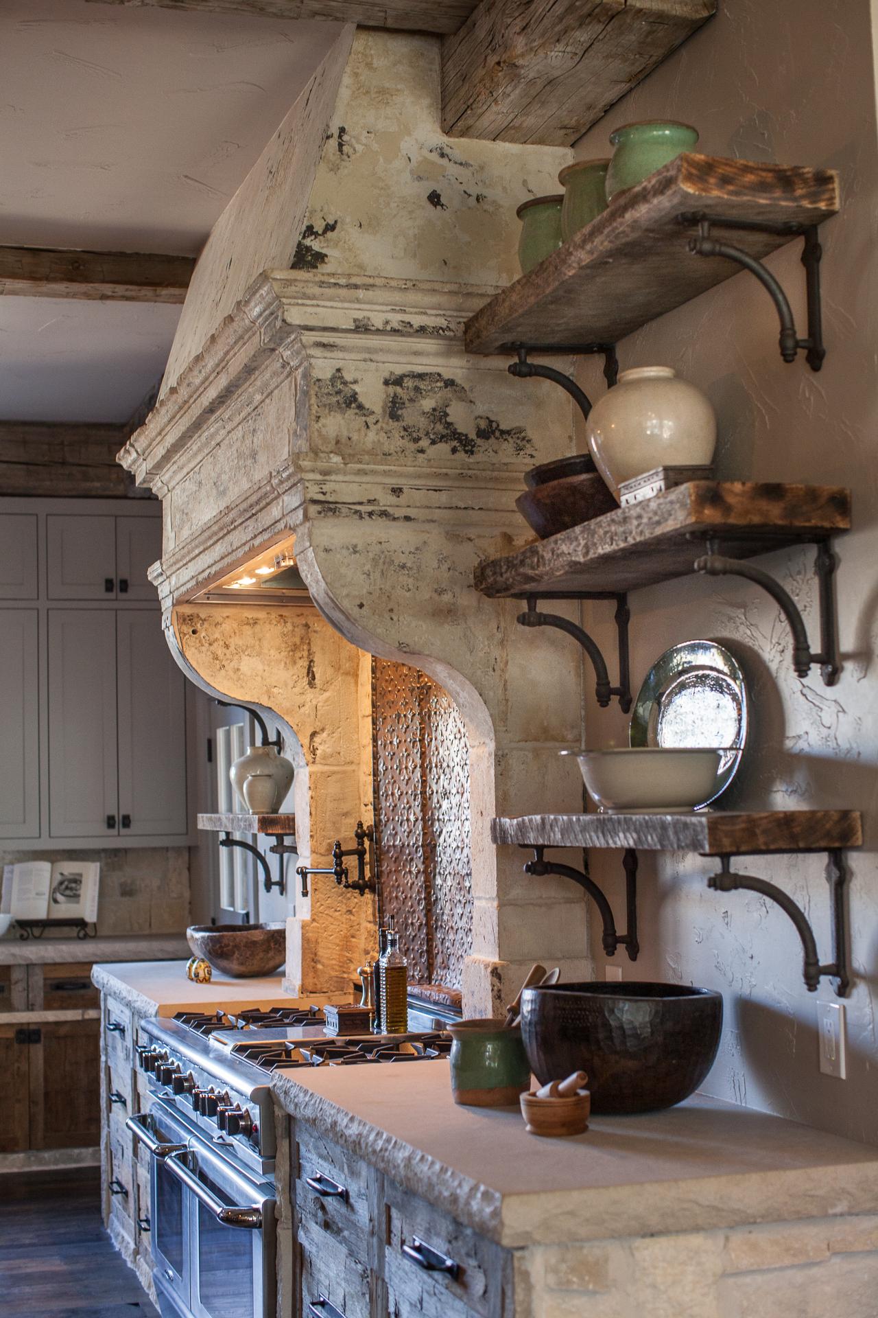 French Stone Hood & Reclaimed Wood Shelves