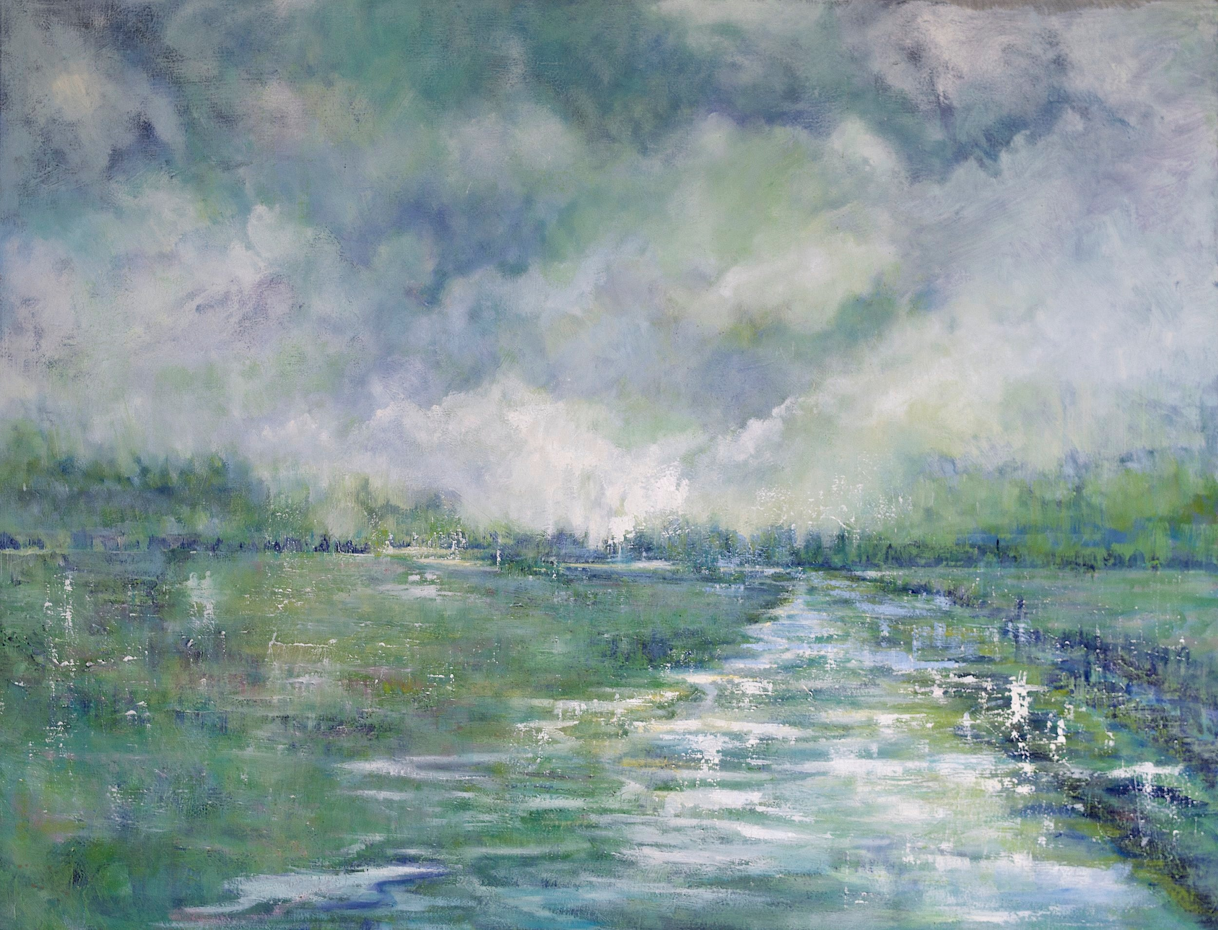 Meadow in flood - 130cm x 100cm, Oil on Box CanvasSOLD