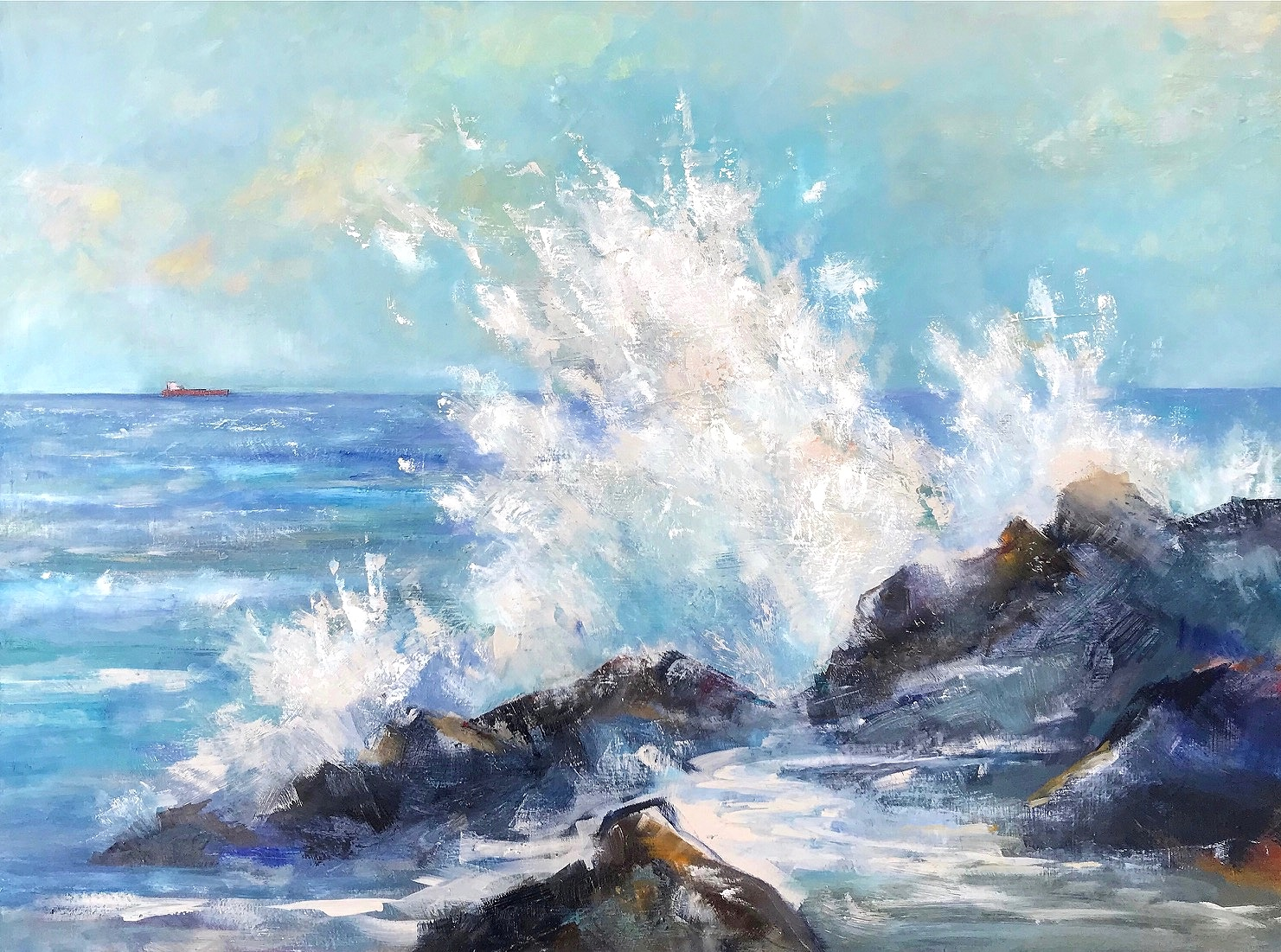Crashing Wave - 80cm x 60cm, Oil on Box Canvas£1,200 (Unframed)