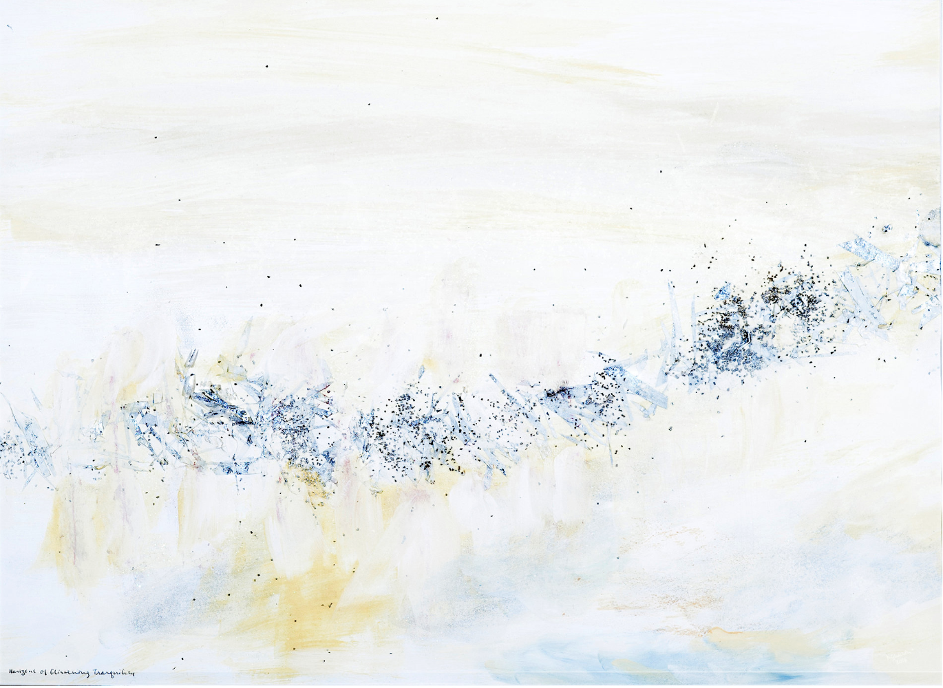 Painting by Madeleine Schachter. HORIZONS OF GLISTENING TRANQUILITY (Printed on glass) Commissioned in private collection. Materials pastels, metal leaf, crystals, watercolors, and crushed glass.