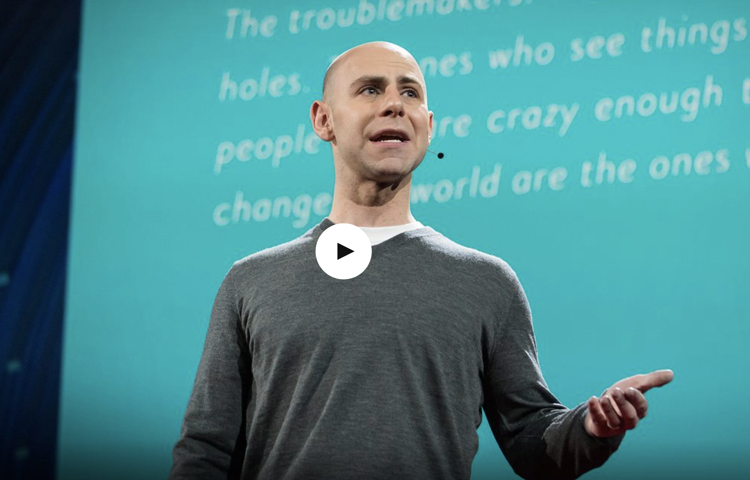 Adam Grant - TED Talk. Image rights of TED.com