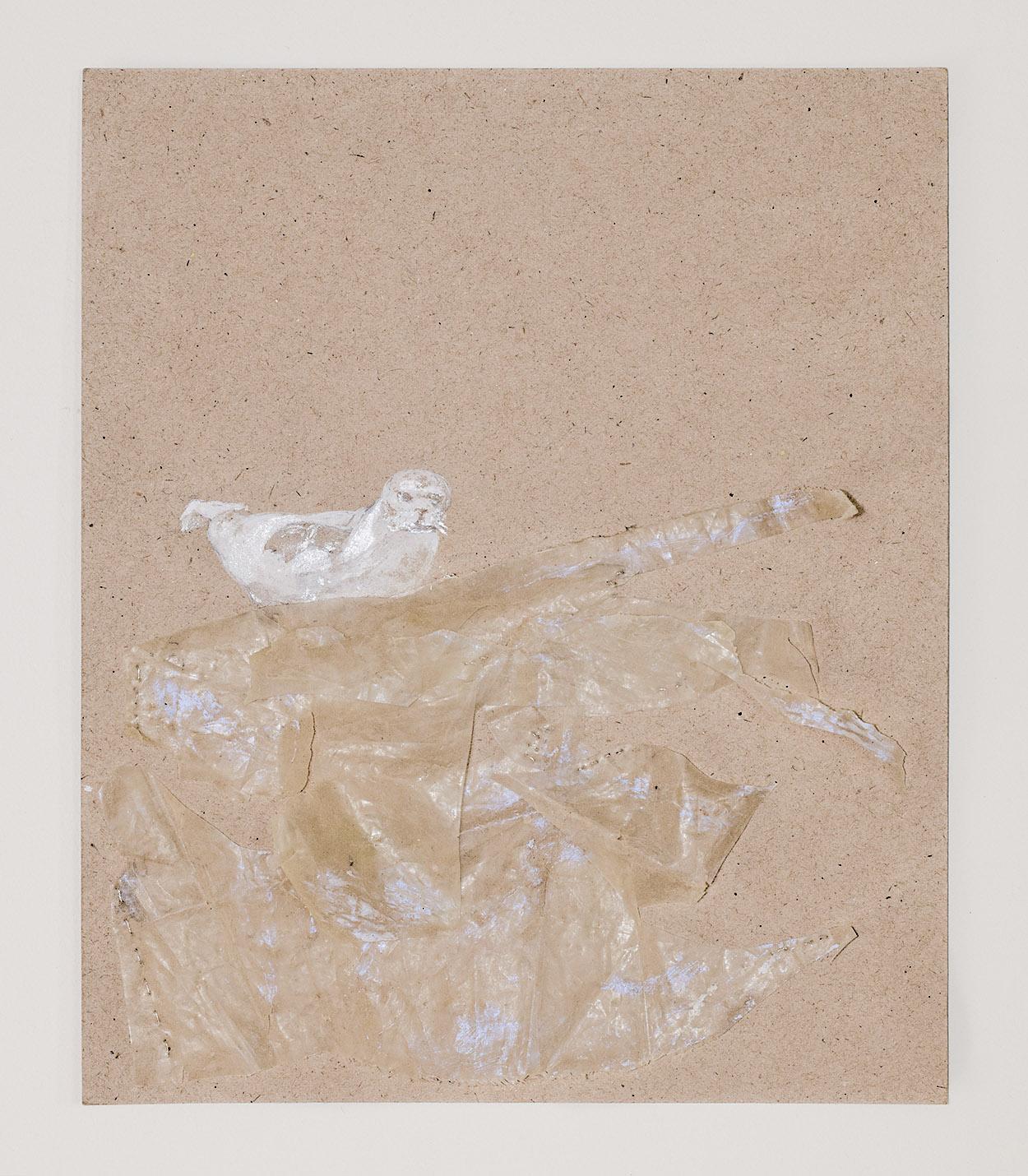 Monachus monachus III    / Foca Monge  Drawing, tempera, varnish, thread and found plastic at the beach. 23,5 x 28 cm.
