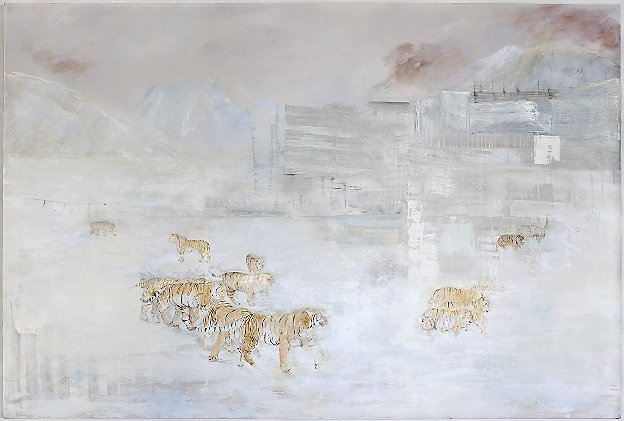 Tigris Altaica   Oil, acrylic, encaustic, eco paint and gold particles on canvas. 300 x 200 cm.