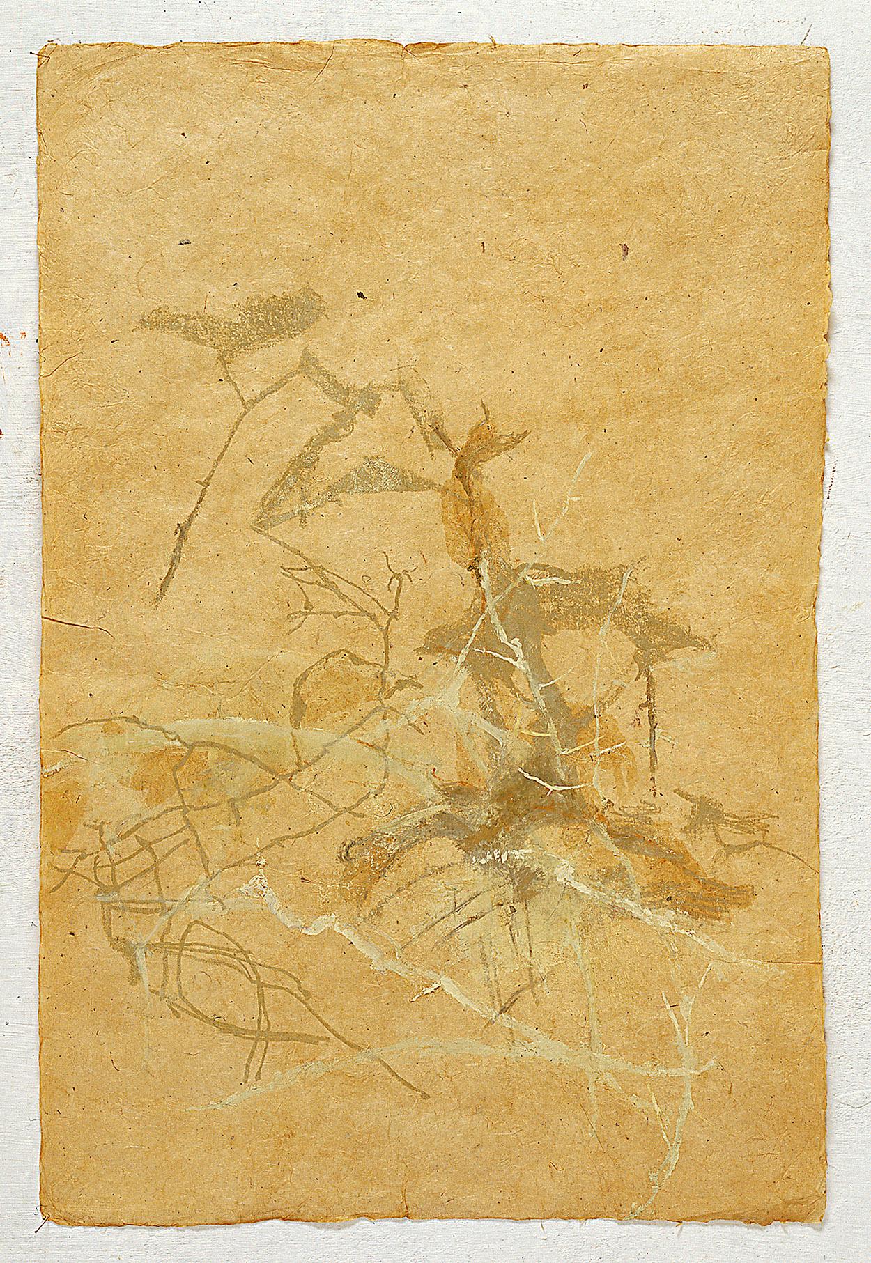 De un árbol   Oil paint on hand made nepalí paper. 51,5 x 76,5 cm.