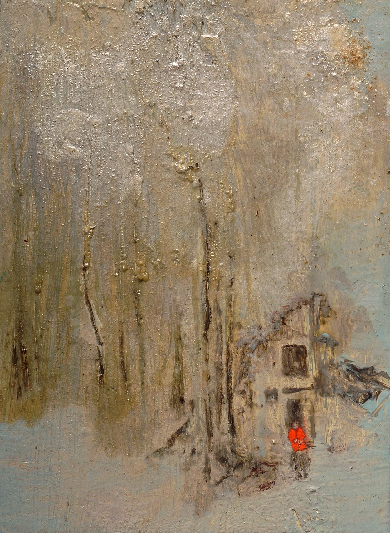 Chechenia, Rusia 2003   Oil paint, fluorescent and pigment on canvas. 16 x 22 cm.