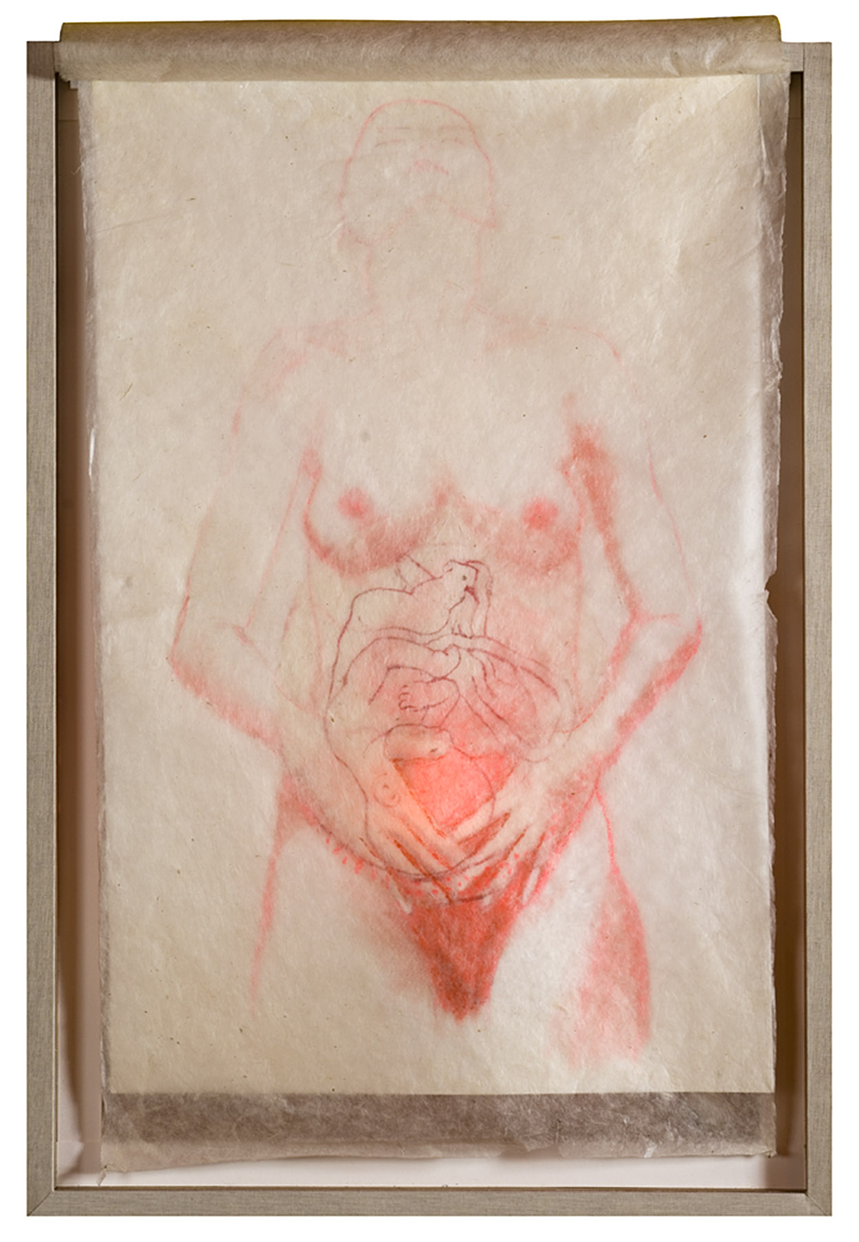 Yearning I    / Anhelo I, Serie: Dar a luz  Pencil, wax, light that flickers when switched on. 70 x 100 cm.