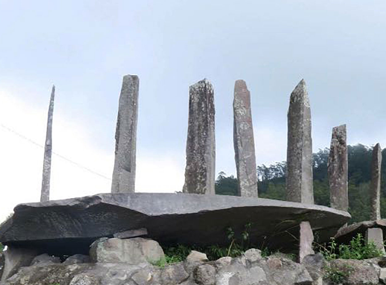 Original ancestral megaliths in village at Flores Island
