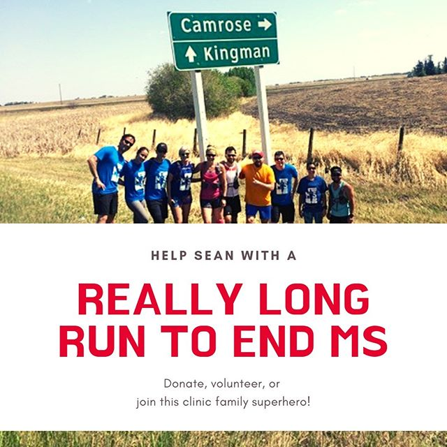 We have a super-hero in our clinic family!! For the last few years, Sean Wingrave has been raising money for the MS Society of Canada by running. Actually running and running and running. He created an amazing money raising event run which you can participate in or donate to. This year, June 8th, 2019, he is running from Fort Saskatchewan to Devon, through the river valley...that is 90 km y'all!! Sean has been thriving with MS himself, and is an inspiring example of how you can live with chronic disease, and also contribute to making a difference in the lives of others.  Why is this important? We have some of the highest MS rates in the world, it is a chronic and often debilitating, progressive disease process, and donating to research can help! It is likely that you know someone that has this disease or has a loved one with it.  WE love Sean, and we hope you might consider donating and supporting his heroic journey!  Link in bio.  #reallylongruntoendms #multiplesclerosis #endms