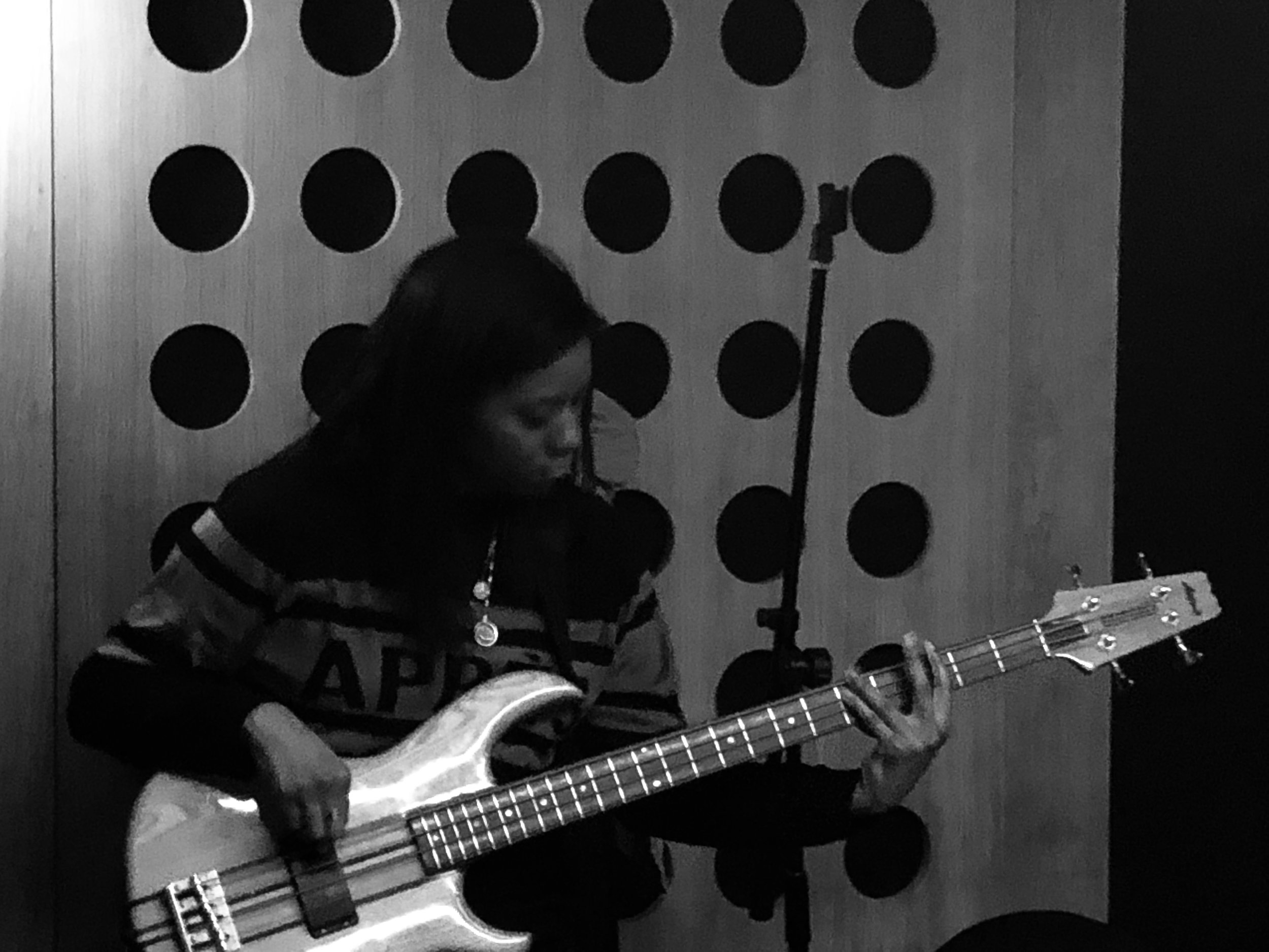 Nicky on bass focussing hard