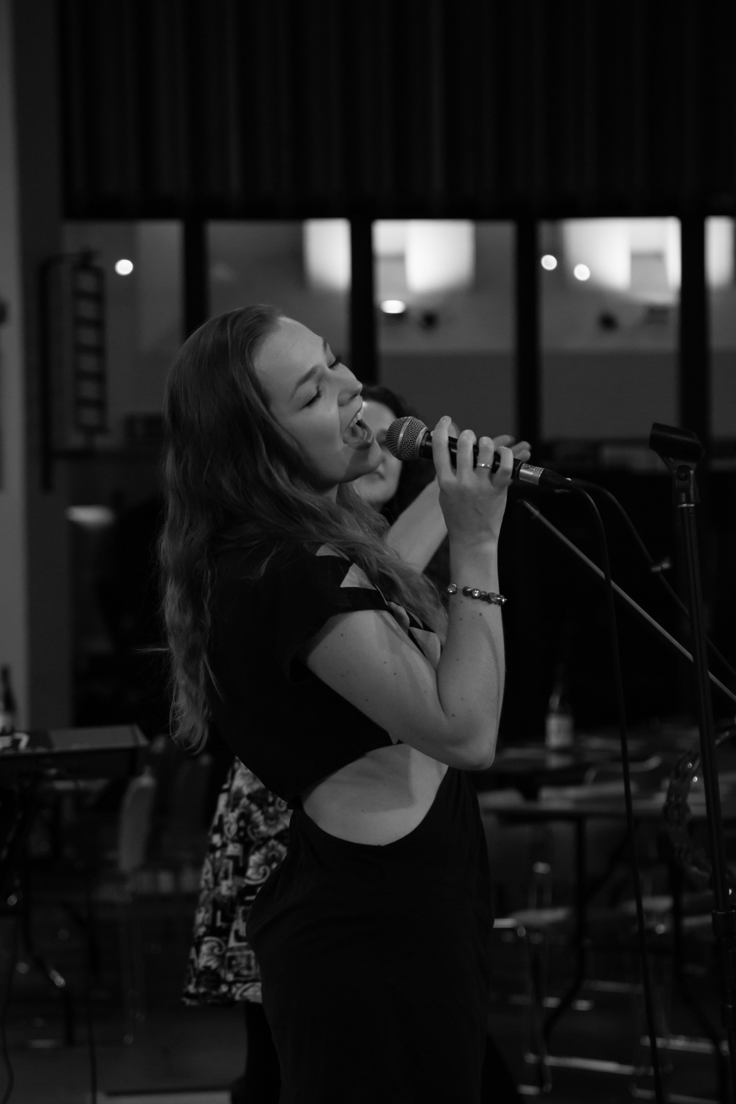 Vocalist Amy belting it like a pro at our recent Putney show