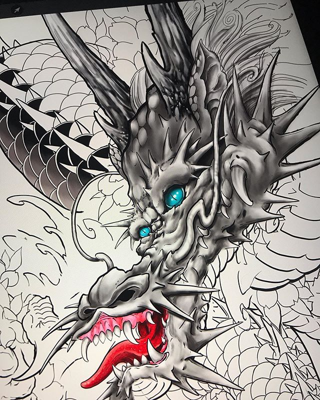 Spent my time on my flight back to Calgary learning my ipad a little more. Made the time go by quite fast. This design is from the previous dragon sleeve I started and I just wanted to experiment and learn new techniques. Thanks for looking 😁 . . . . . #tattoo #tattoos #yyctattoo #yyctattoos #calgarytattoos #calgaryartist #yeg #yegtattoo #yegtattoos #yycartist #tattoosofinstagram #tattooart #tattoocalgary #inked #tattoo_art_worldwide #japanesetattoo #japanesetattoos #asian_inkandart #asian_inkspiration #9elementtattoos #9element #dragon #dragontattoo #procreate #ipadpro