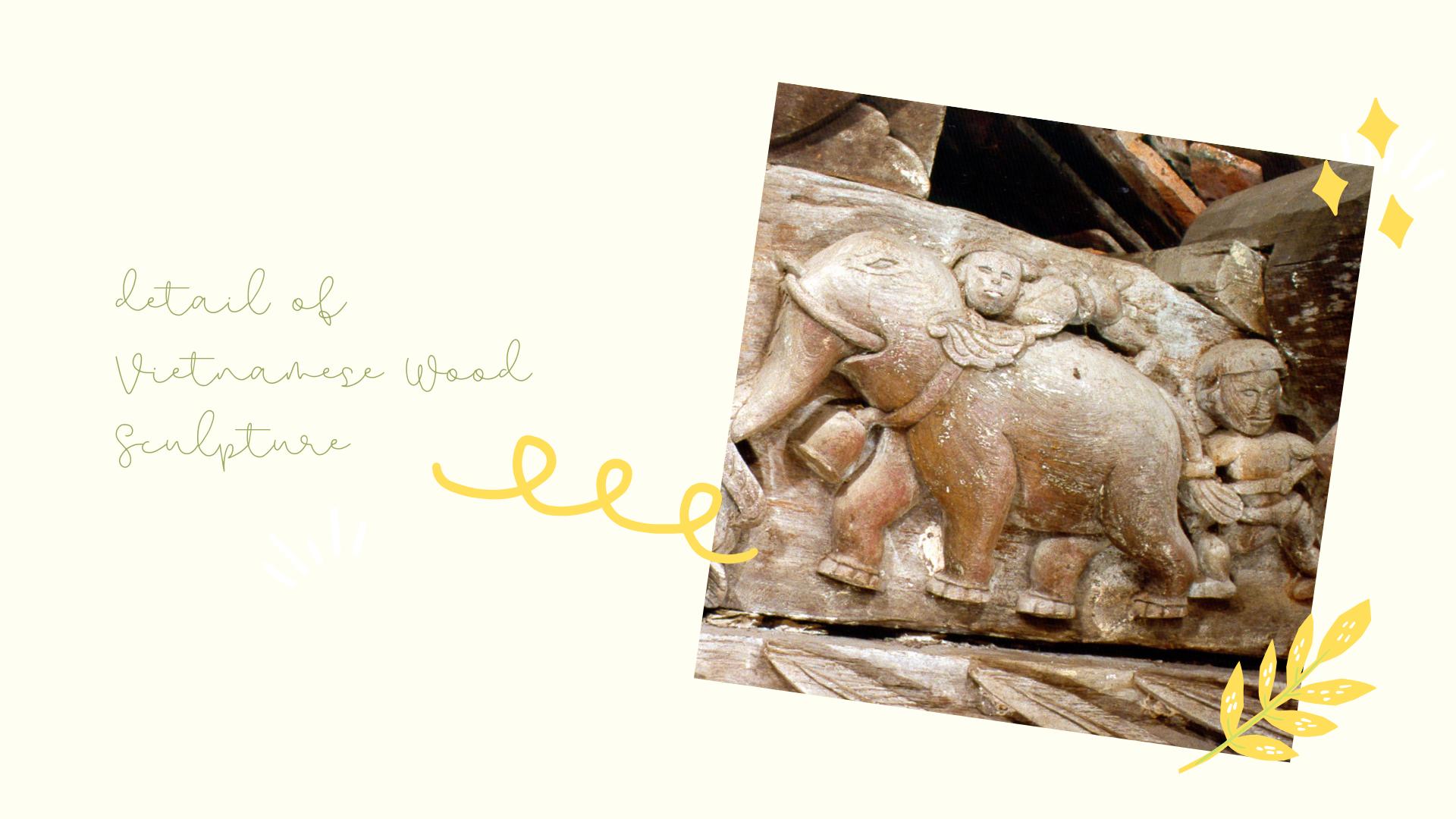 A detail of Vietnamese Wood Sculpture Artwork