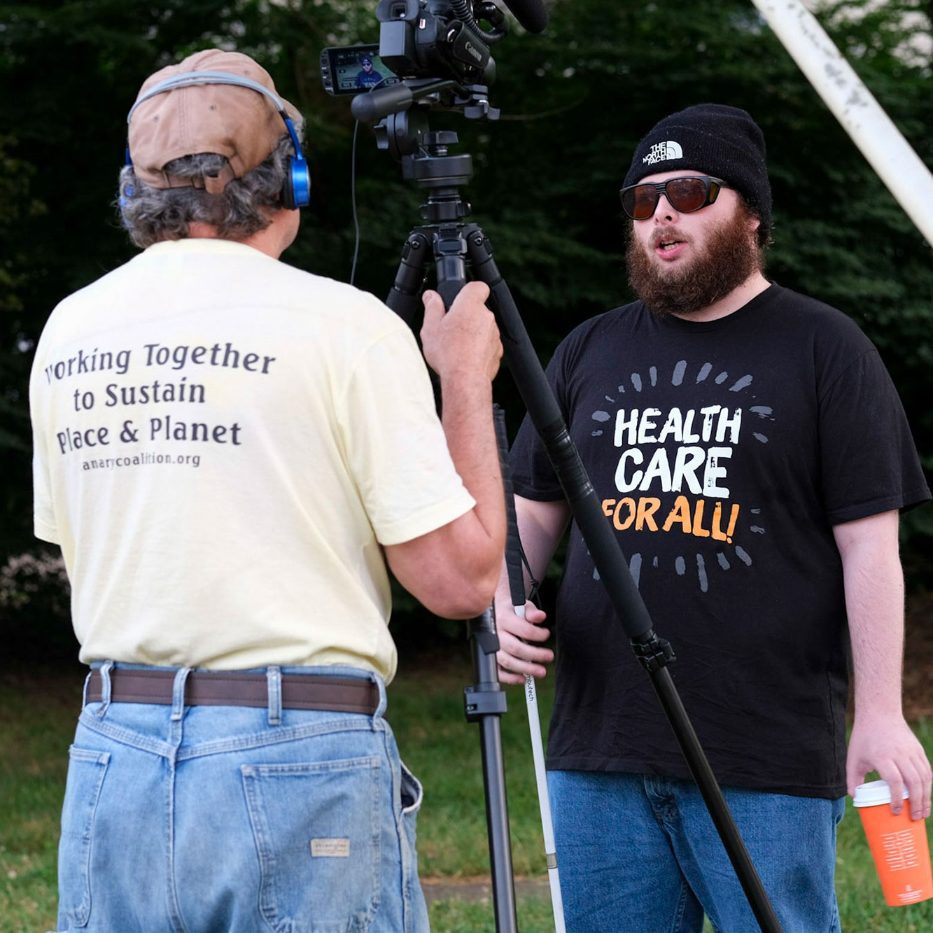 Man interviewing on camera about health care