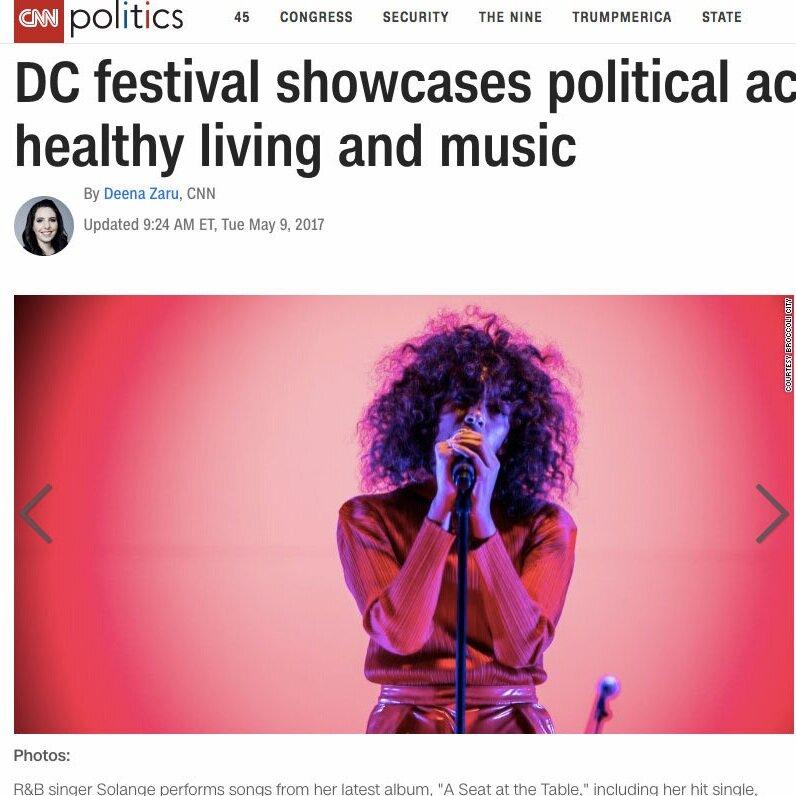 Washington, DC, music and politics festival news article on CNN website